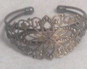 1960's Vintage Inspired Hippie Bohemian Style Brass Flower Engraved Adjustable Filagree Bracelet