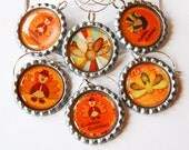 Thanksgiving, Turkey, Wine Charms, Bottlecap wine charm, Orange, Thanksgiving charms - KellysMagnets