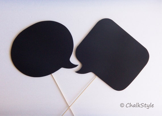 Set of 2 Large CHALKBOARD Speech Bubbles on a Stick  --  2 SIDED Chalkboards, Photo Booth Props for Wedding Photos