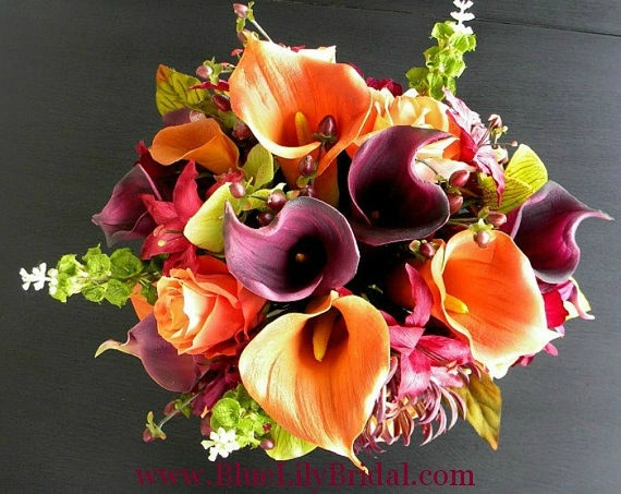 Real Touch Wedding Flowers in Orange, Sangria, Purple and Green-  Fall Wedding