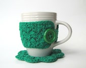 Green Coffee Mug Cozy AND Coaster Set - cherlynnephotography