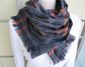 scarf Man fashion-mad-mens scarves-Turkey-2012 trends-winter FASHION scarf-gray orange scarf-wool blend fabric- plaid shawl scarf - Scarves2012
