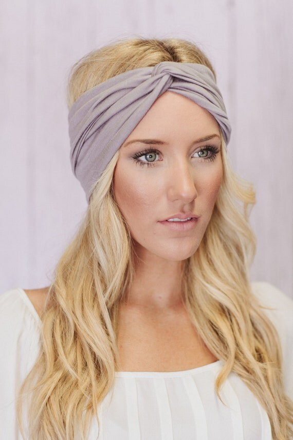 Turban Headband in Silver Gray Workout Twist Hair Bands (T02)