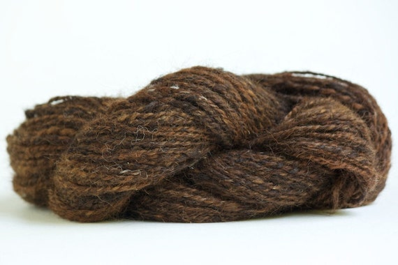 Handspun Alpaca Yarn in Browns and Blacks.