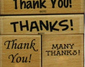 Mounted Rubber Stamps Thank you Thanks Set of 4