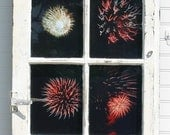 "Art, Photography Fireworks Window Pane Wall Art, Rustic Farmhouse Window, Wall Art, Home Decor - ""Fireworks in the Night Sky"" - FabbCreations"