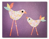 Children's Art, Nursery Art, Kids Decor, Nursery Wall Art, Mama and Baby Bird, Learning the Ropes