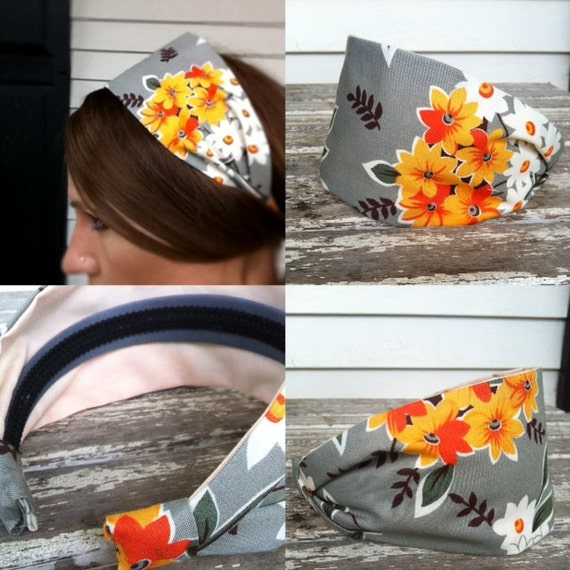 Flea market fancy grey mod structured fabric headband. Wide.