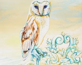 The Shabby Chic Owl, Original Painting - TheWhimsicalFrog