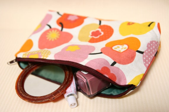 Apple Zippered Pouch / Make-Up Bag / Pencil Case