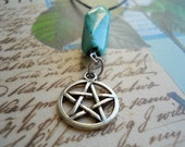 lilah. turquoise pentacle necklace (witchy, pagan, wiccan, pentagram, stone, howlite)