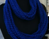 Free US Shipping: Cobalt Blue Infinity Crocheted Rope Chain Necklace/Scarf