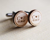 dated initials wood cuff links - ElizajayCharm