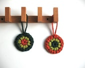 christmas decor - door decoration - pair of hanging flowers - tree home decor - green orange - ready to ship - neusbatllori