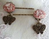 Butterfly Bobbi pin set, pink cameos in bronze filigree settings with bronze butterfly charms