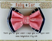 Pink Nautical Double Layer Bow Hair Clip, Navy Stripe, Pink Anchor
