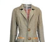 women's khaki linen jacket / blazer, size medium - fairlyworn