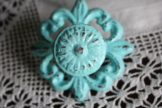cottage chic vintage style drawer pull in aged blue green aqua paint