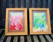 ORIGINAL ARTWORK 2 Ink/Watercolour Paintings, Technicolour Dragonflies, Mounted and Framed