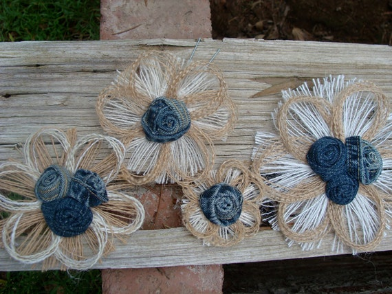 Burlap Daisy Wedding Cake Topper - Country Western, Rustic Burlap Flower Set of 4