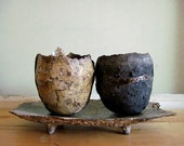 Raku Decorative plate and vessels set. - AuntMagdaCeramics