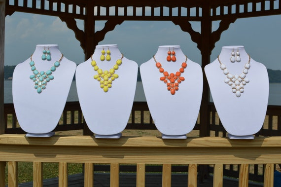 SALE- SHIPS NOW Last Ones- Geometric Turquoise Bib Necklace Set