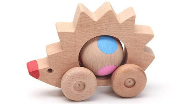 Wooden Rolling Hedgehog Toy