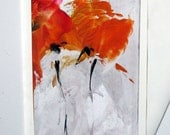 Original Encaustic Artcard Poppies CANCER RESEARCH DONATION StudioSabine