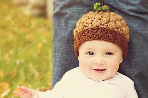 Crochet Acorn Hat with Leaf - PDF Pattern - 4 sizes up to 12 months
