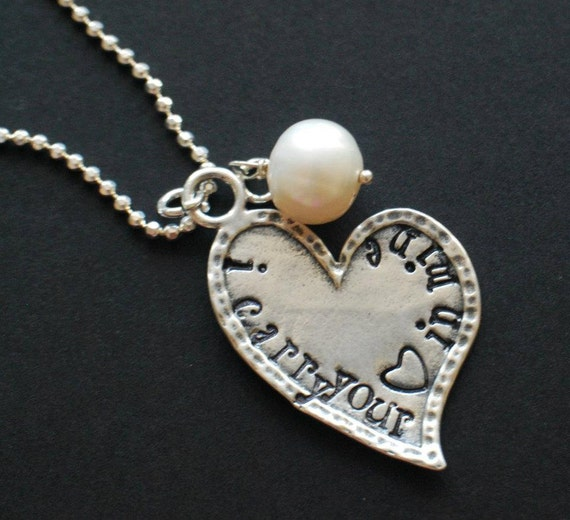 "Hand Stamped Sterling Silver Necklace ""I carry your heart in mine"""