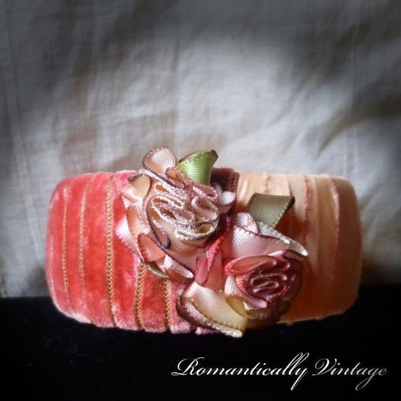 Dark Rose Bracelet, Victorian, Shabby Chic, OOAK, Blossom, Boutique, Enchanting, Autumn