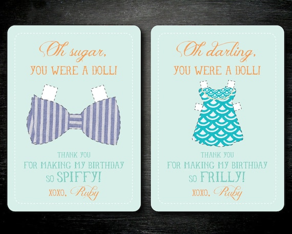 PRINTABLE Dress Up Party Thank You Cards. Paper Doll Thank You Cards.