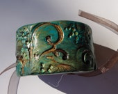 Polymer Clay Cuff, ooak bracelet, mint aqua teal green and brown golden accents - HandmadeByJenStedman
