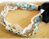 Blue Ribbon Sweet Lace Wedding Headband, Blue Headband with White Lace and Gold Chain, Bridal Headband,  Tie on Hairband