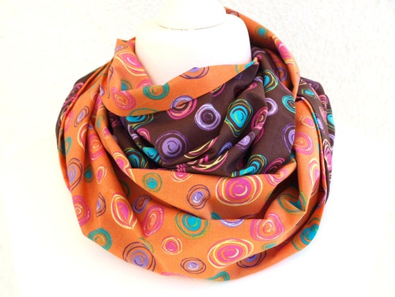 Brown and Orange Infinity scarf, circle scarf with dots turquoise, tangerine tango