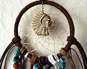 Navajo inspired bohemian crystal dreamcatcher wall hanging bronze and gold - CindersJewelryDesign