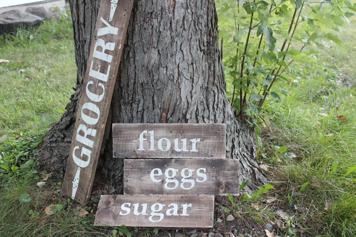 Rustic Wooden Kitchen Sign Set Includes all sugar by TwineandKeys