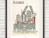 Madrid - Poster A3 Illustration Version2 - andrerochadesign