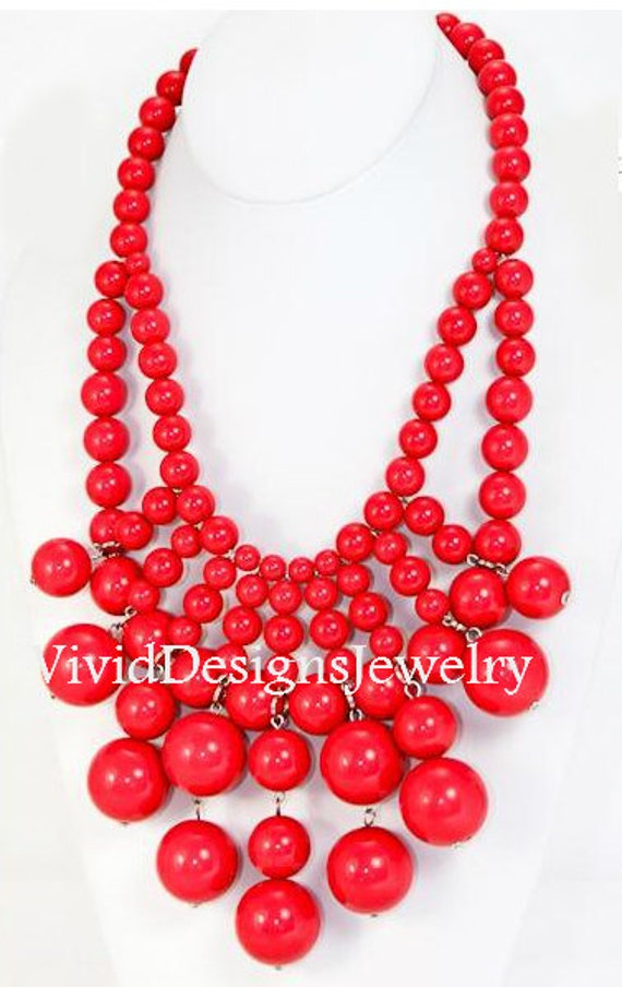 Coral Red J Crew Bib Bubble Statement Necklace -Anthropologie Necklace-Chunky Necklace-Huge- Large- Big- Peach Necklace- Jewelry