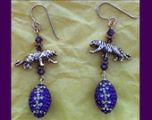 Crystal Football Earrings with Tigers