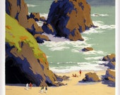 Cornwall Vintage Railway Travel Art Print (28x35cm) - ThePosterGallery