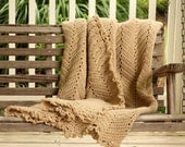 Hand Crochet Afghan khaki Lace Color Autumn - FoundationCreations