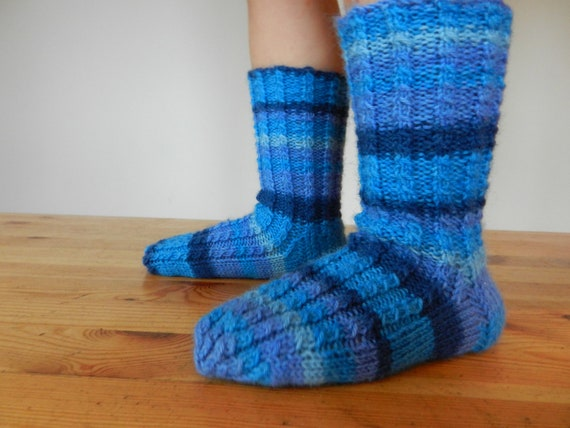 Hand knitted boys socks/ blue / children winter accessories / children socks / children wool socks