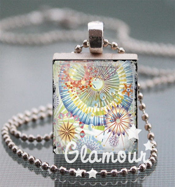 Scrabble Tile Pendant Necklace // Firework // Colorful Altered Art