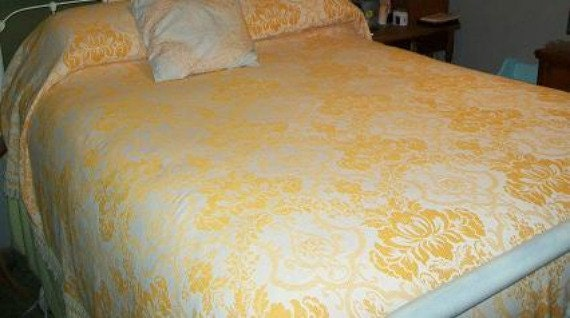 Mid Century Bohemian Orange Jacquard  Damask Bedspread with Fringe