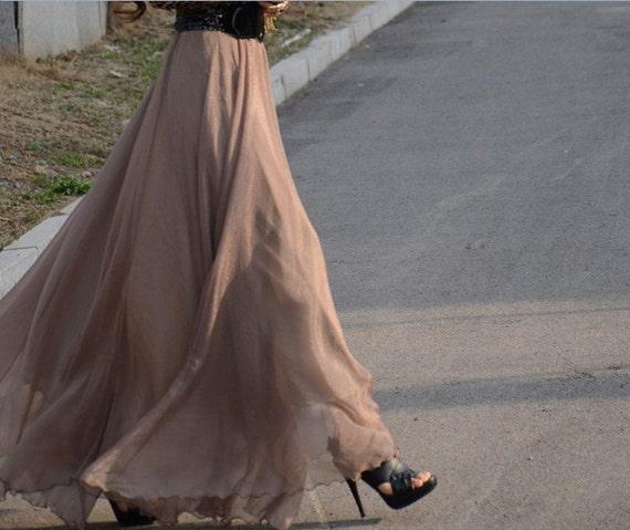 women's gold coffee silk Chiffon 8 meters of skirt circumference  long dress maxi skirt qz02