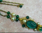 Extraordinary Eugene green art glass with pearl necklace, convertible pendant