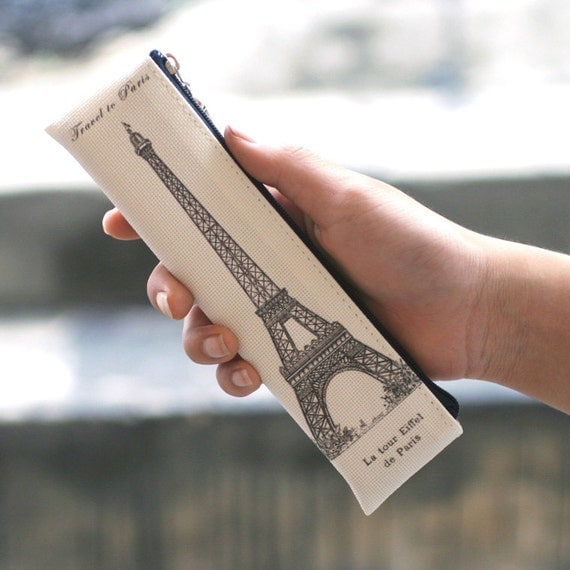 Paris and Eiffel motive, Mini pencil case, pencil case with zipper, Mini pencil case, pencil case with zipper, school pencil case