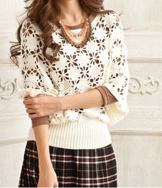 Women sweater round collar lovely hook flower hollow-out sweater--SW032