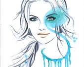 Original Watercolor Illustration Portrait Art Painting titled Some Mint For You - Mysoulfly